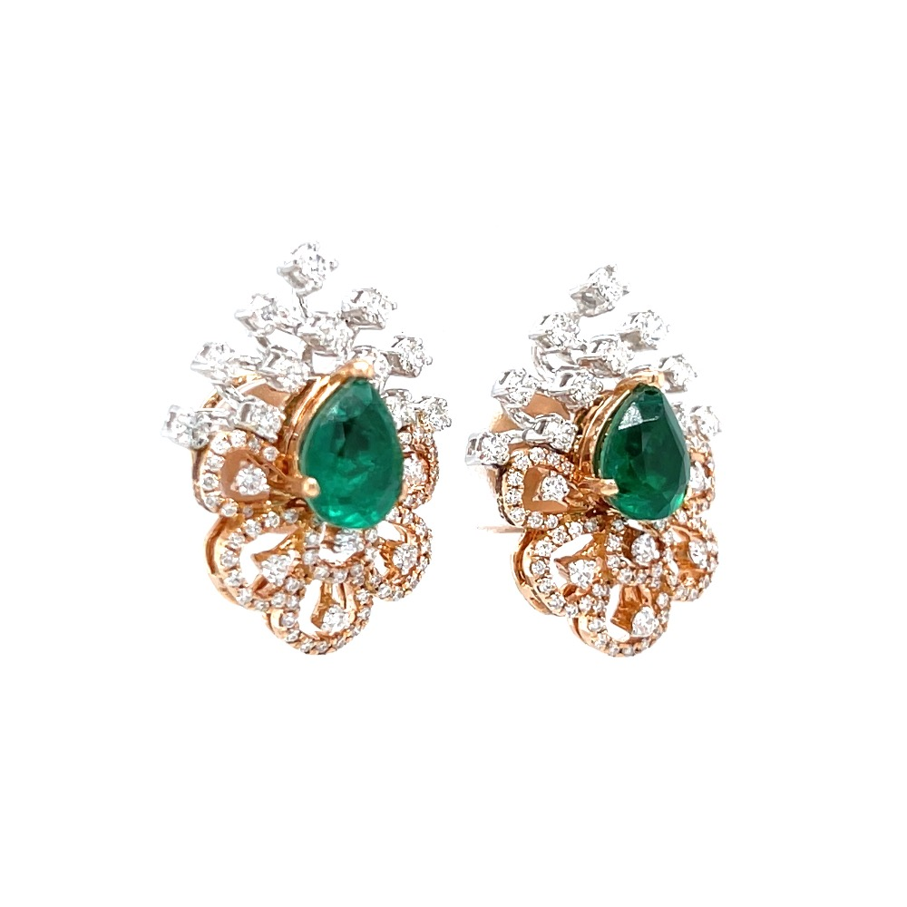 Tear drop shaped diamond tops with green stone 0top110
