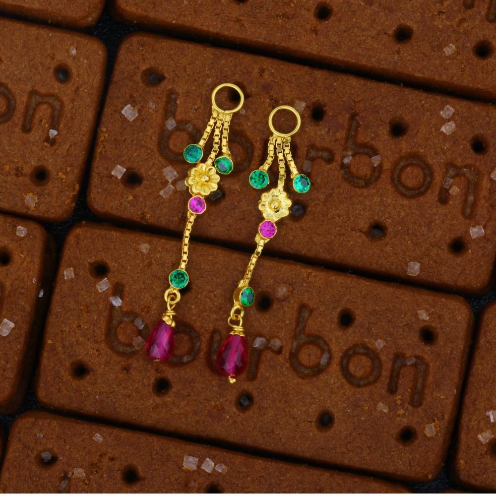 22KT Single Line Flower Design Gold Latkan For Earrings JJ-006