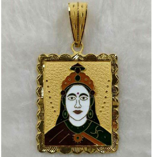 22KT Gold Chehar Maa Meenakari Pendant