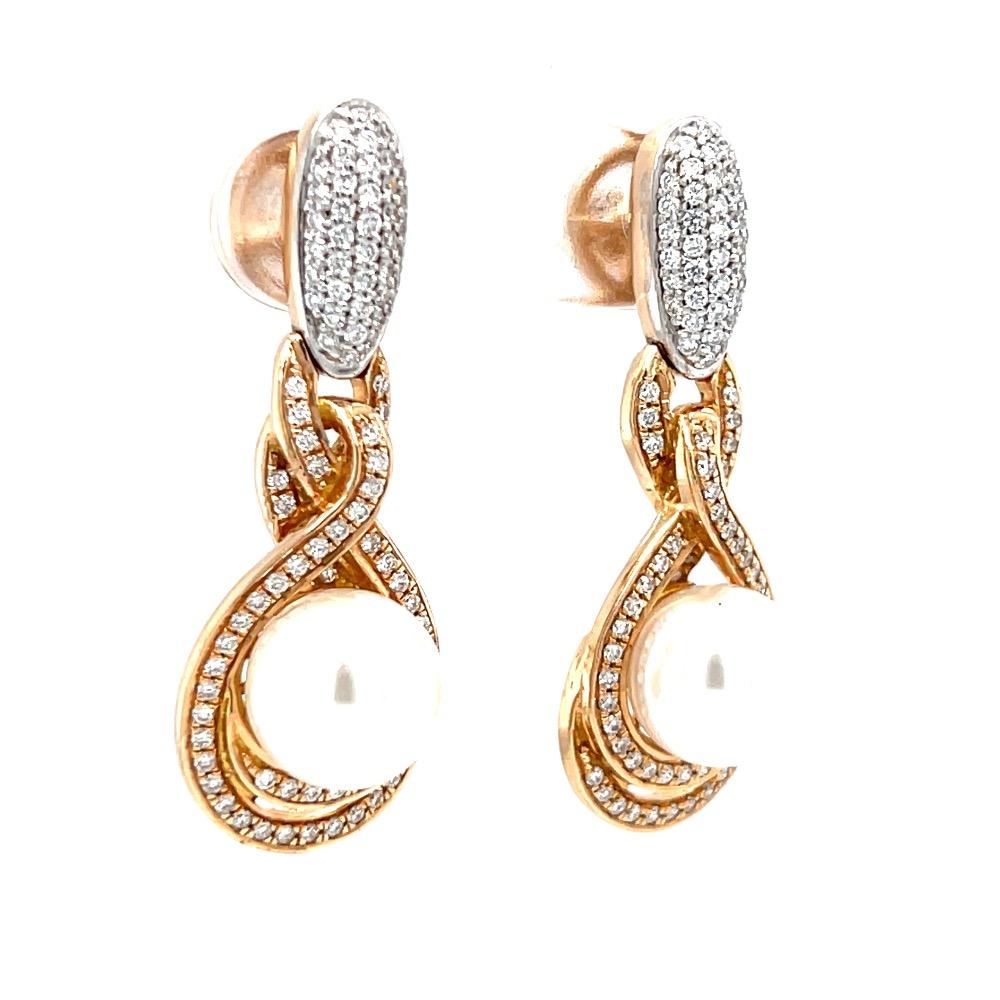 Mini latkans with a pearl in the centre in vvs quality diamonds