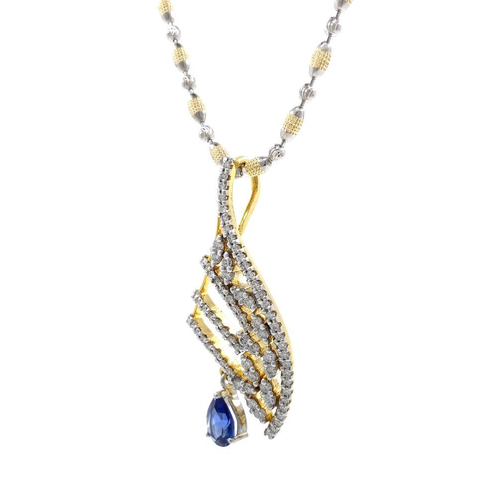Blue Stone Diamond Pendant in 14k Yellow Gold 9SHP25