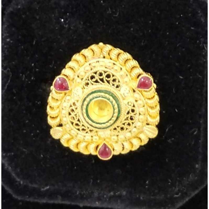 916 Antique Gold Jadtar Rings Design