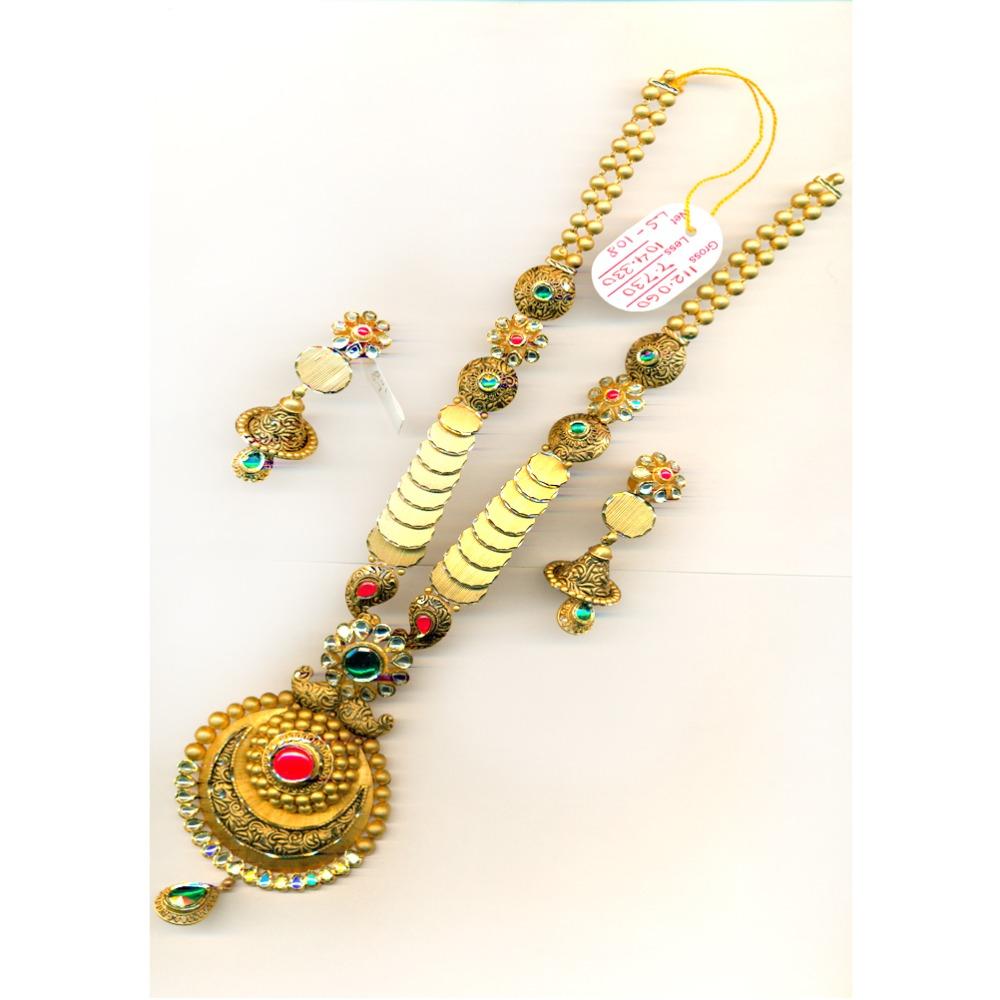 22KT Designer Antique Long Necklace Set-26