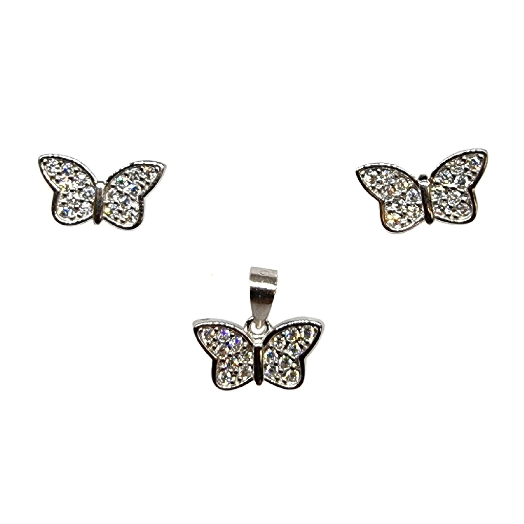 925 Sterling Silver Butterfly Shaped Pendant Set MGA - PDS0196