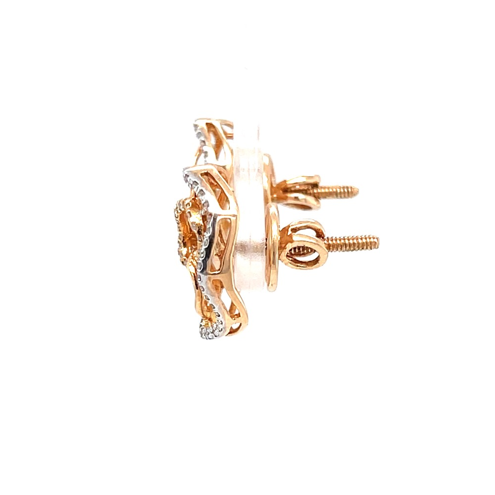 Circular diamond earrings with up & down oval boarder 9top101