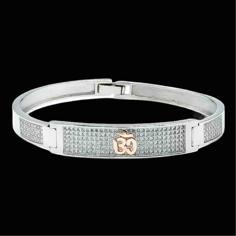 925 sterling silver gents kada with Om logo