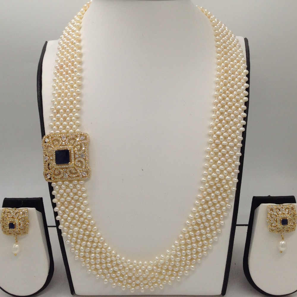 "White And BlackCZ BroachSet With Seed""U"" Jali Pearls Mala JPS0200"