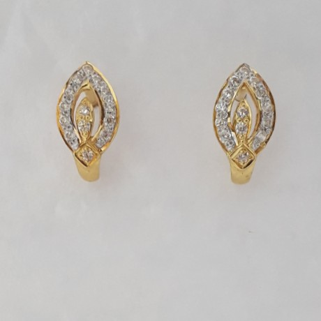 916 cz gold J earrings