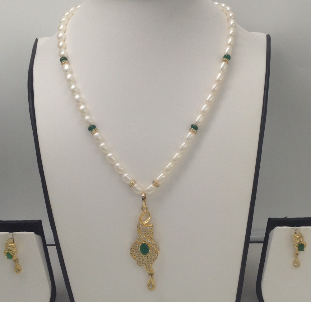 White And Green CZ PendentSet With OvalPearls Mala JPS0116