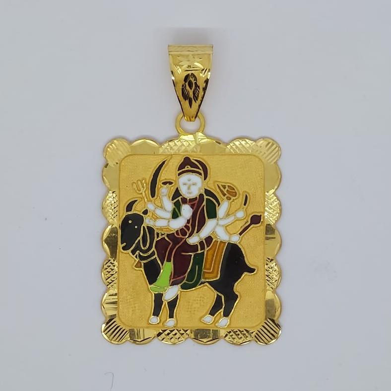 916 Gold Meladi Maa Minakari Pendant
