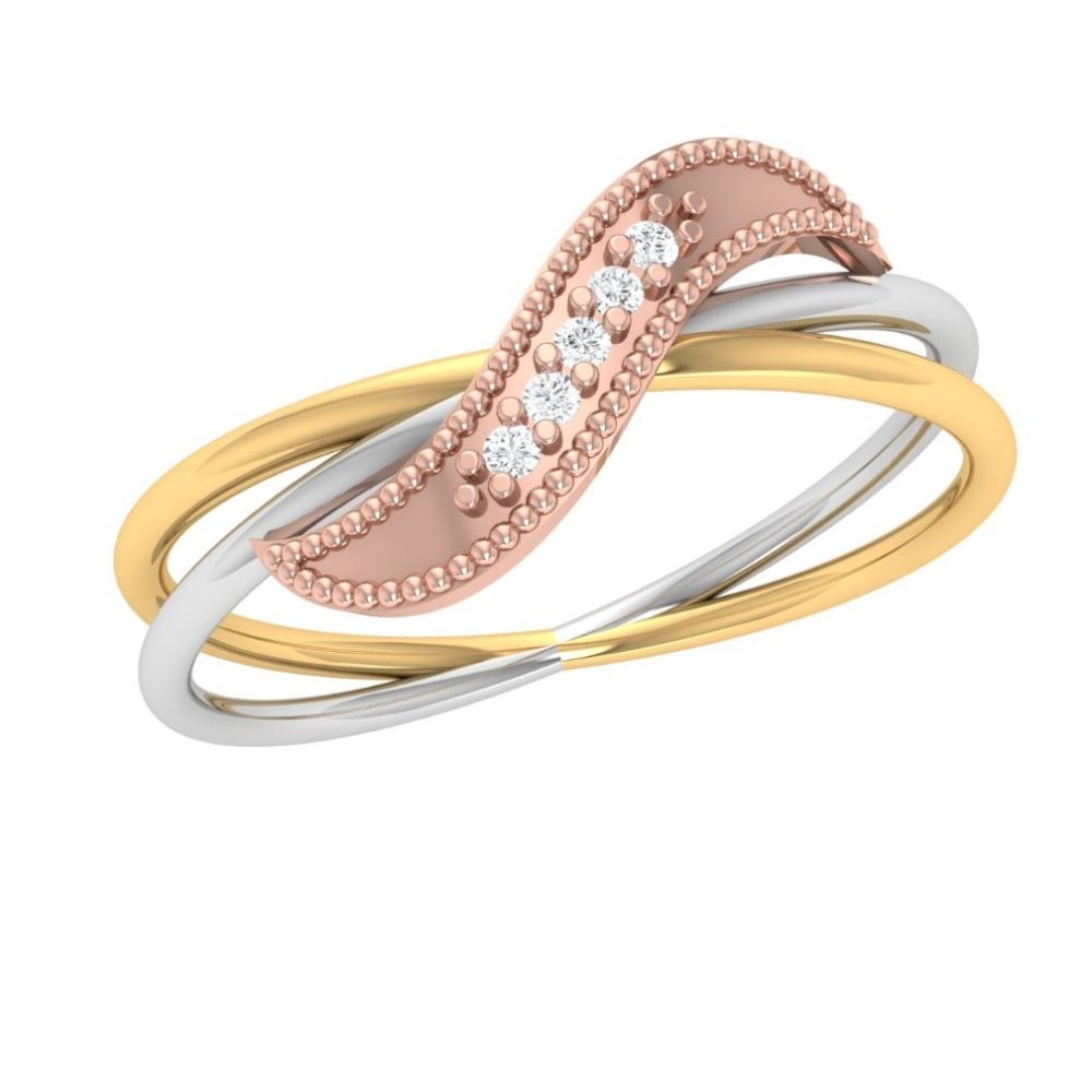 22K Gold Designer Triple Tone Ring For Women JJ-R10