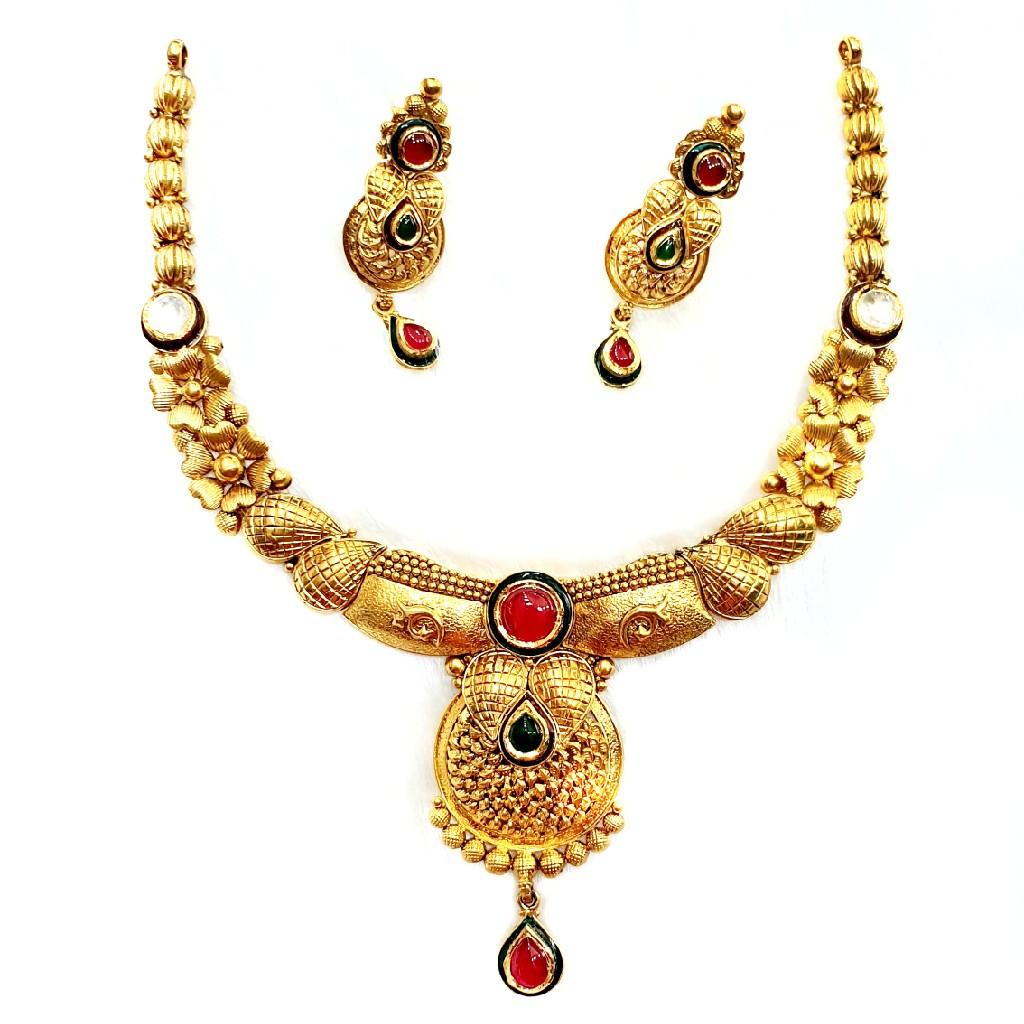 916 gold antique necklace set mga - gn011