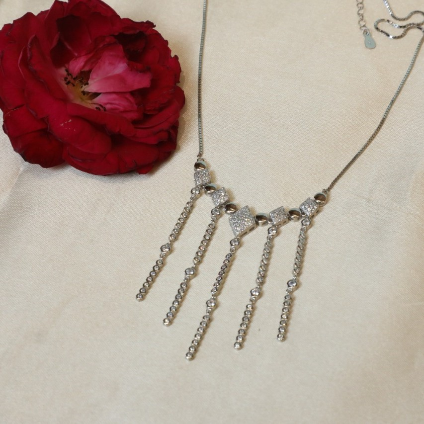 92.5 Sterling Silver Fancy&Cz  Necklace for this women