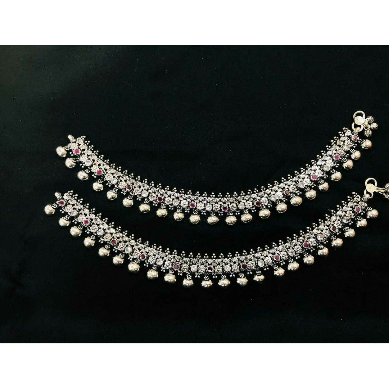 92.5 Sterling Silver Full Oxodize Anklet(Payal) Ms-3862