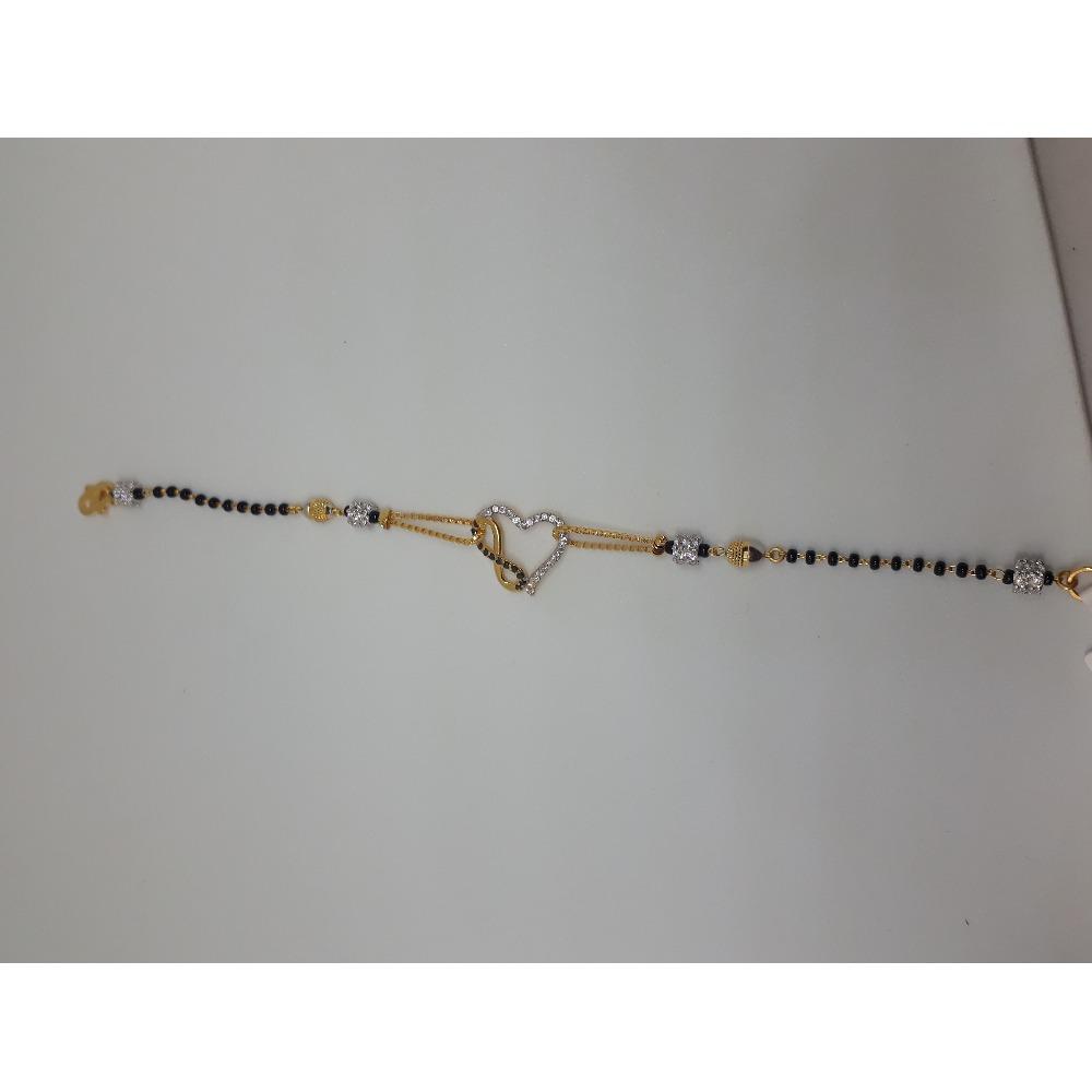 916 Gold CZ Heart Design Mangalsutra Bracelet IO-B006