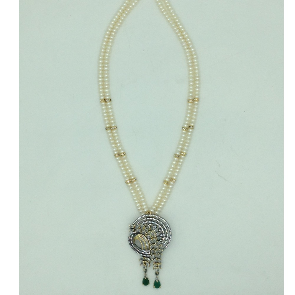White and GreenCZPendentSet With 2Line FlatPearls Mala JPS0692