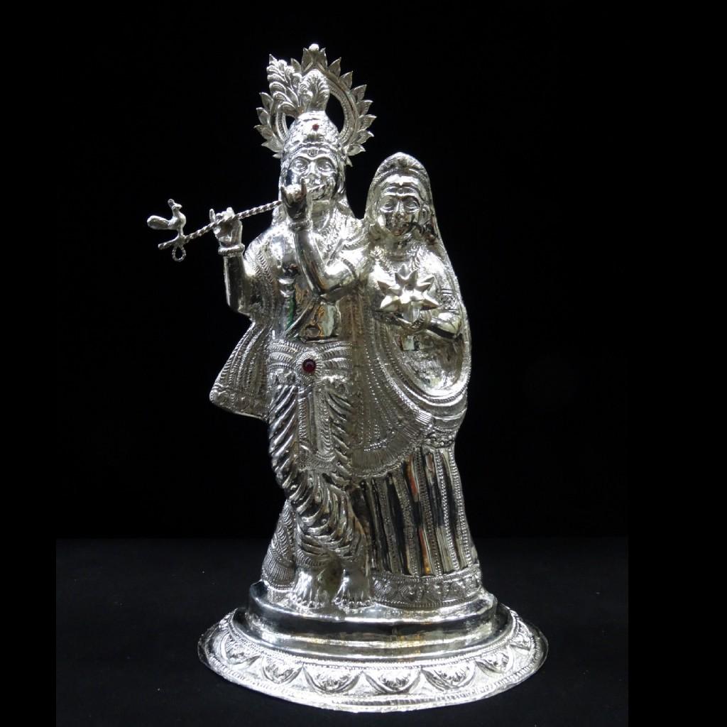 silver radha krishna murti