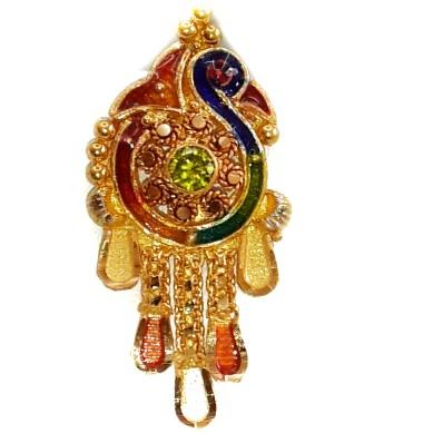 22k kalkatti meenakari peacock pendant set mga - gsp006