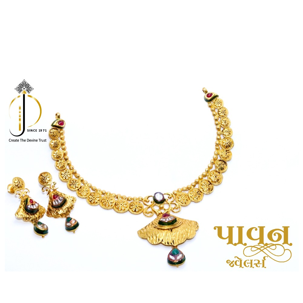 916 / 22CT Yellow Gold Antique Jadtar Bridal Necklace Set For Women STG0014