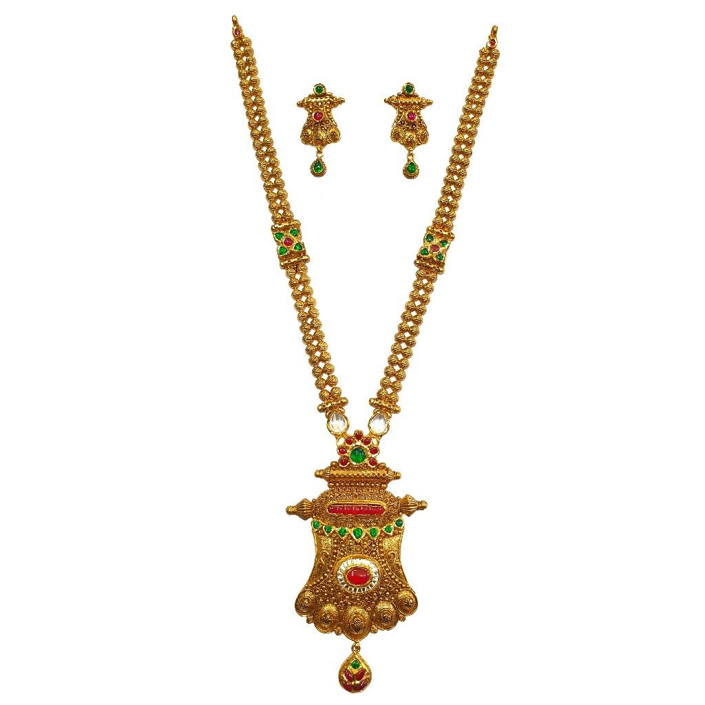 22K Gold Antique Modern Long Necklace Set MGA - GLS0099