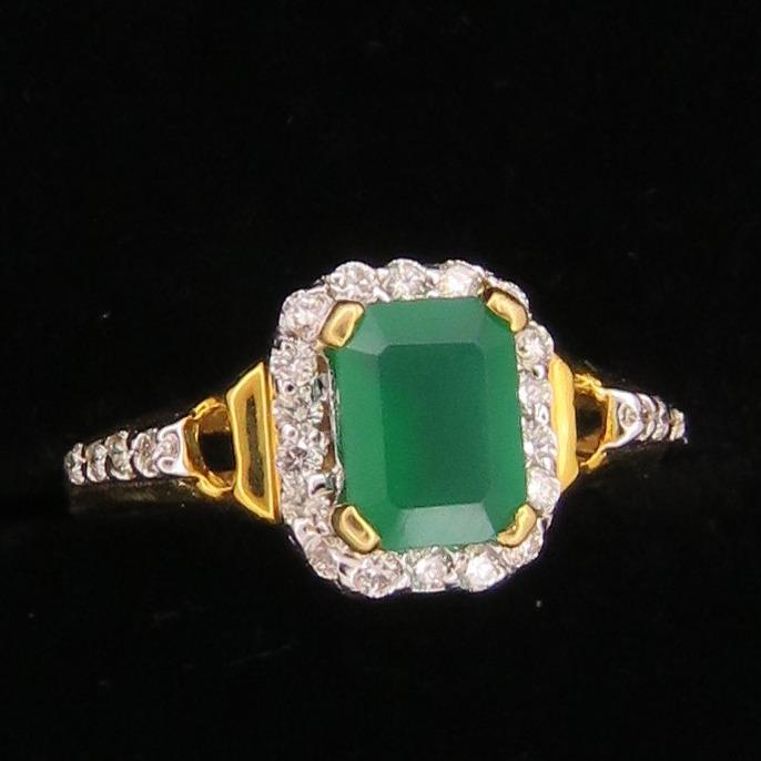 Gold Emerald Stone Ring For Women KJ-R16