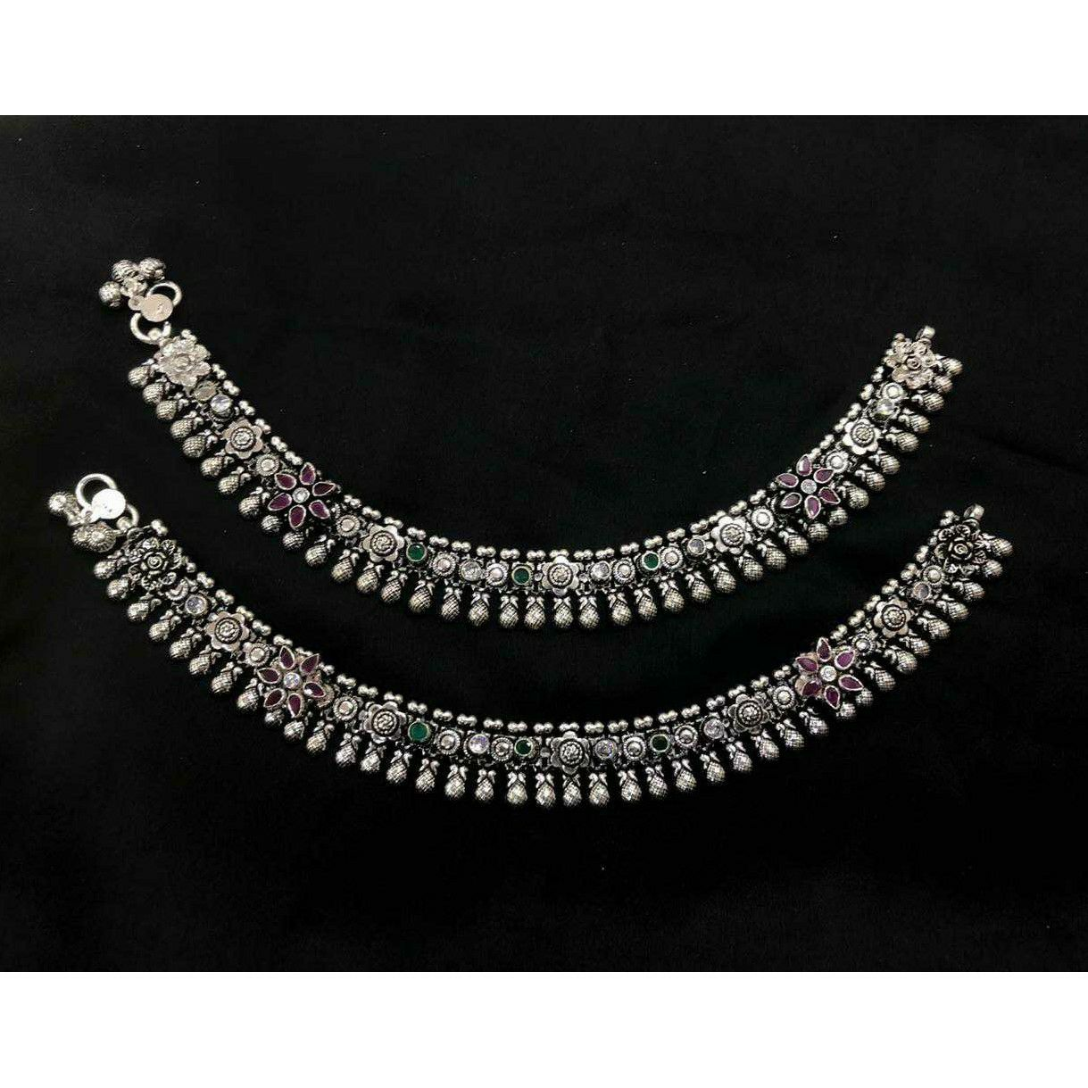 92.5 Sterling Silver Beautiful Handwork Oxodize Anklet(Payal) Ms-3863