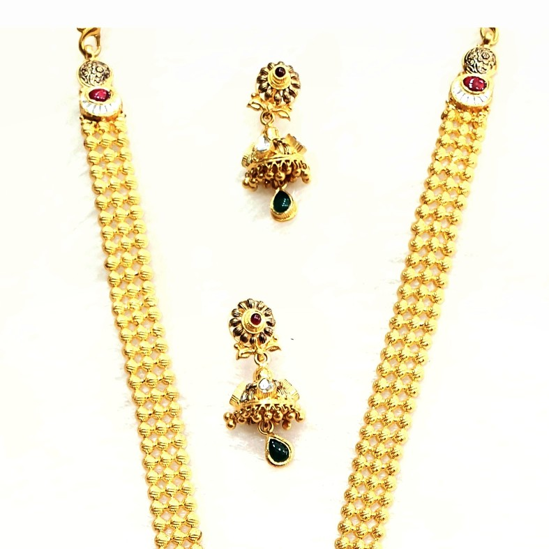 22k gold antique long necklace set mga - gn0054