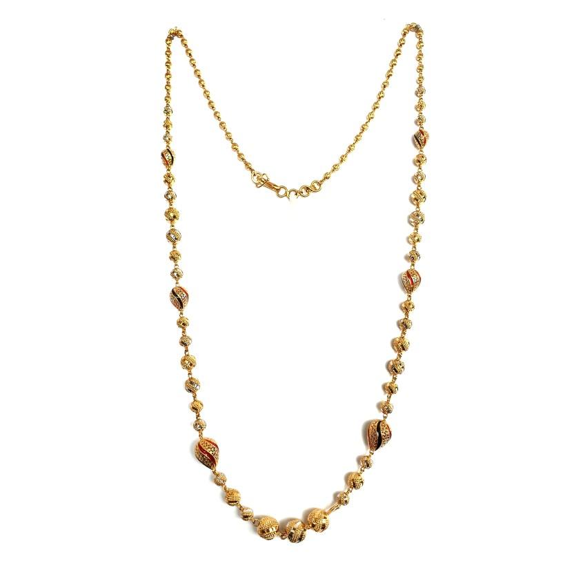 One Gram Gold Forming Meenakari CNC Mala MGA - MLE0036