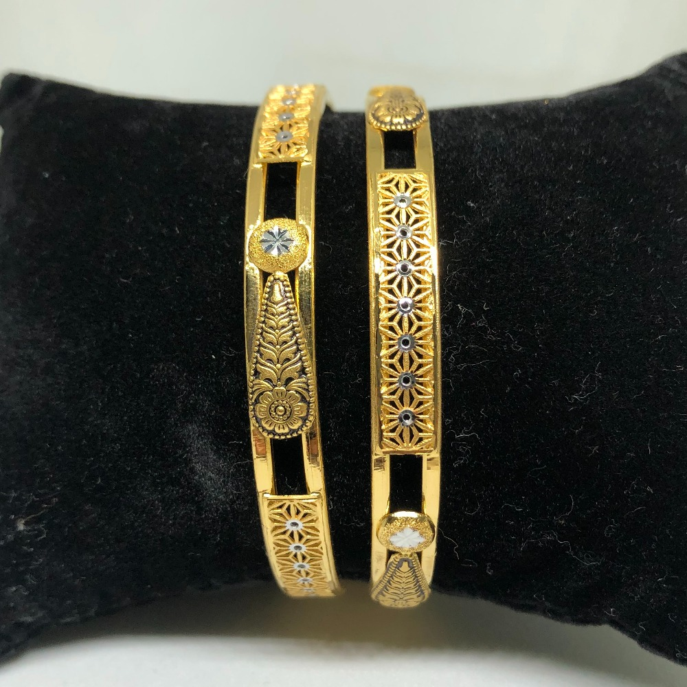 916 Gold Double Pipe Copper Kadli Bangle VN-B11