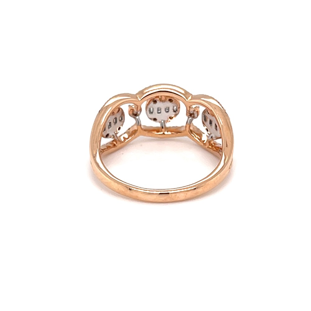 Tri pressure set diamond ring in 18 karat hallmark rose gold