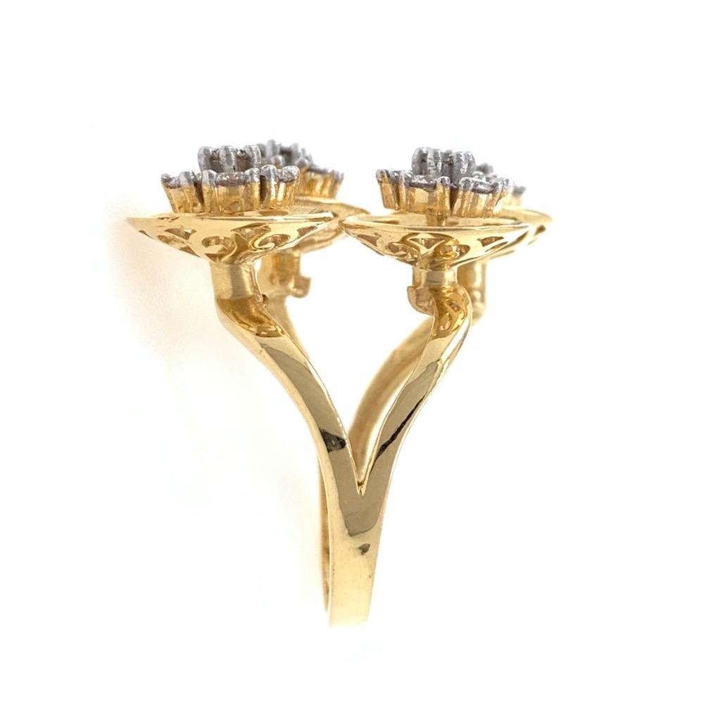 Quad Flower diamond Cocktail Ring in 18k Yellow Gold - 6.500 grams - VVS EF 0.87 carats - 0LR59