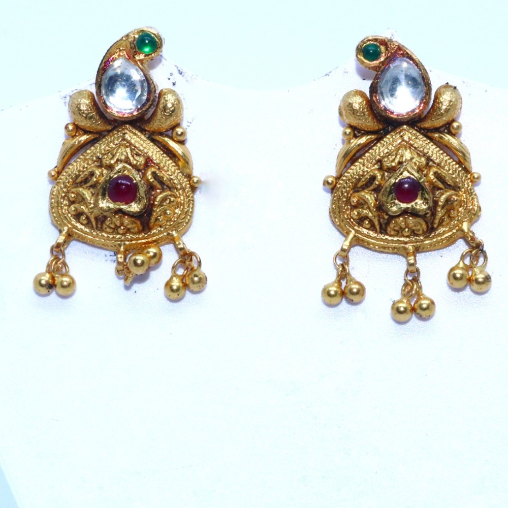 22kt / 916 antique jadtar earrings for ladies btg0308