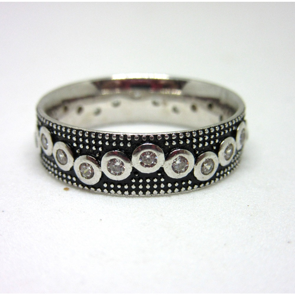 Silver 925 oxidese diamond band rin sr925-201