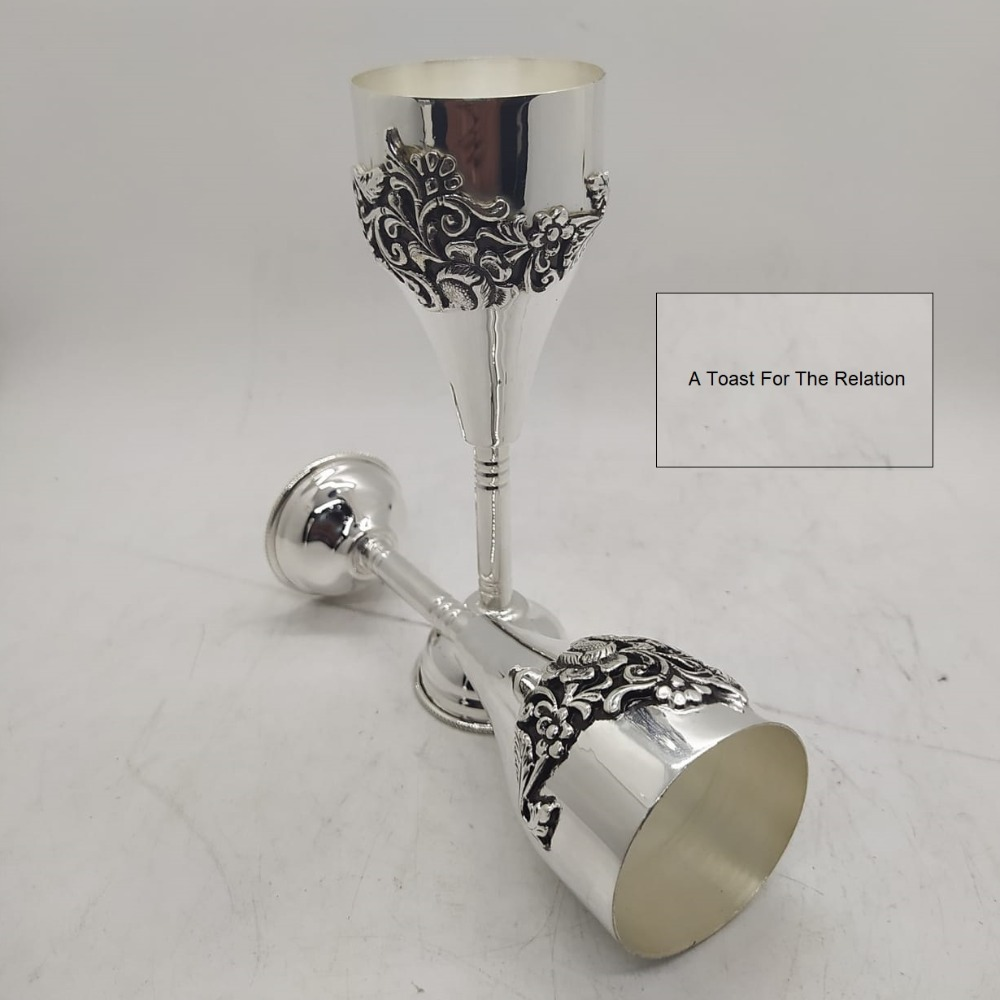 Puran hallmark silver wine glasses with fine carving work (2 pcs)