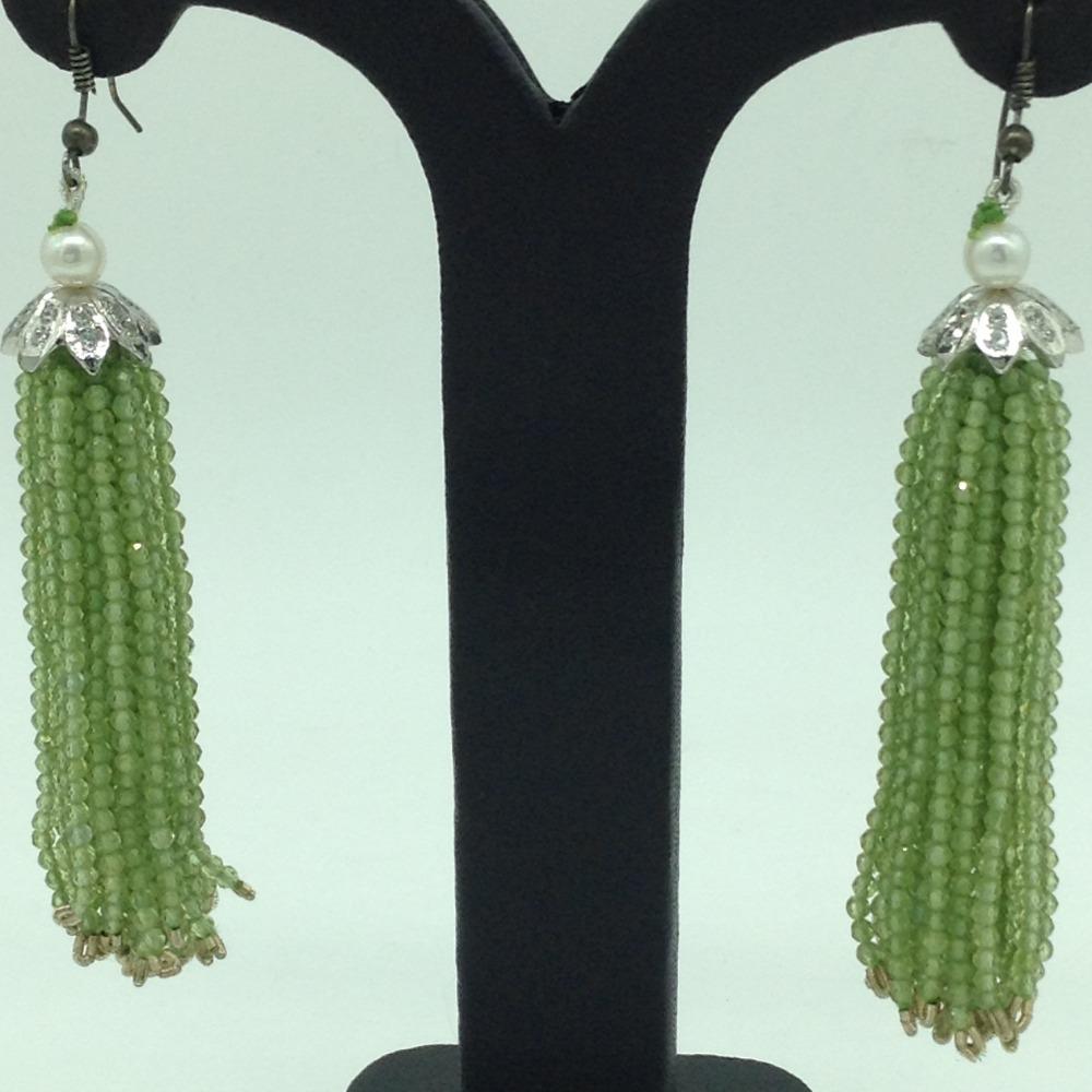 Parrot Green Peridot Stones Ear Chandelier HangingsJER0021