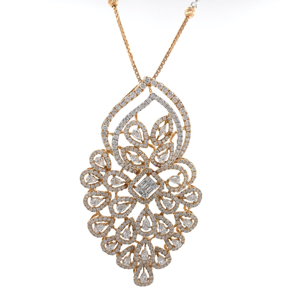 charmante with Fancy Shaped diamond pendant in 18k Rose Gold 9shp41