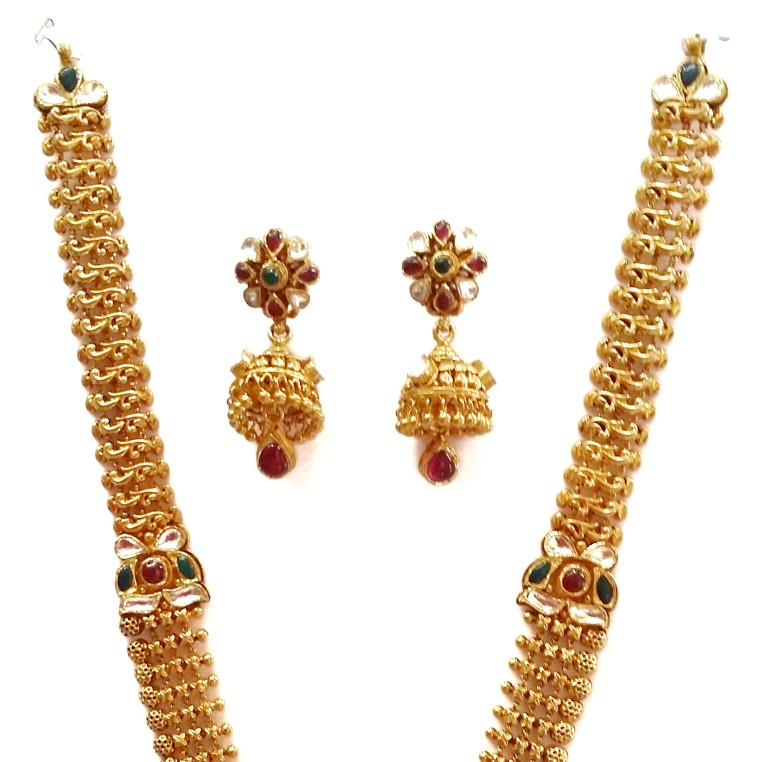 22k Gold Long Rajwadi Necklace With Jummar Buti MGA - GLS077