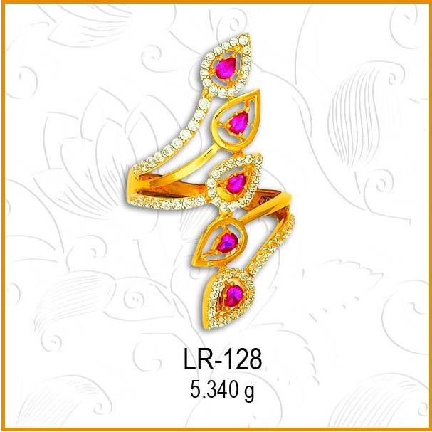 916 Gold Fancy CZ Pink Stone Ladies Ring LR-128