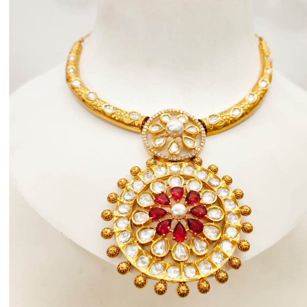 Gold plated choker with kundan work necklace set 1615
