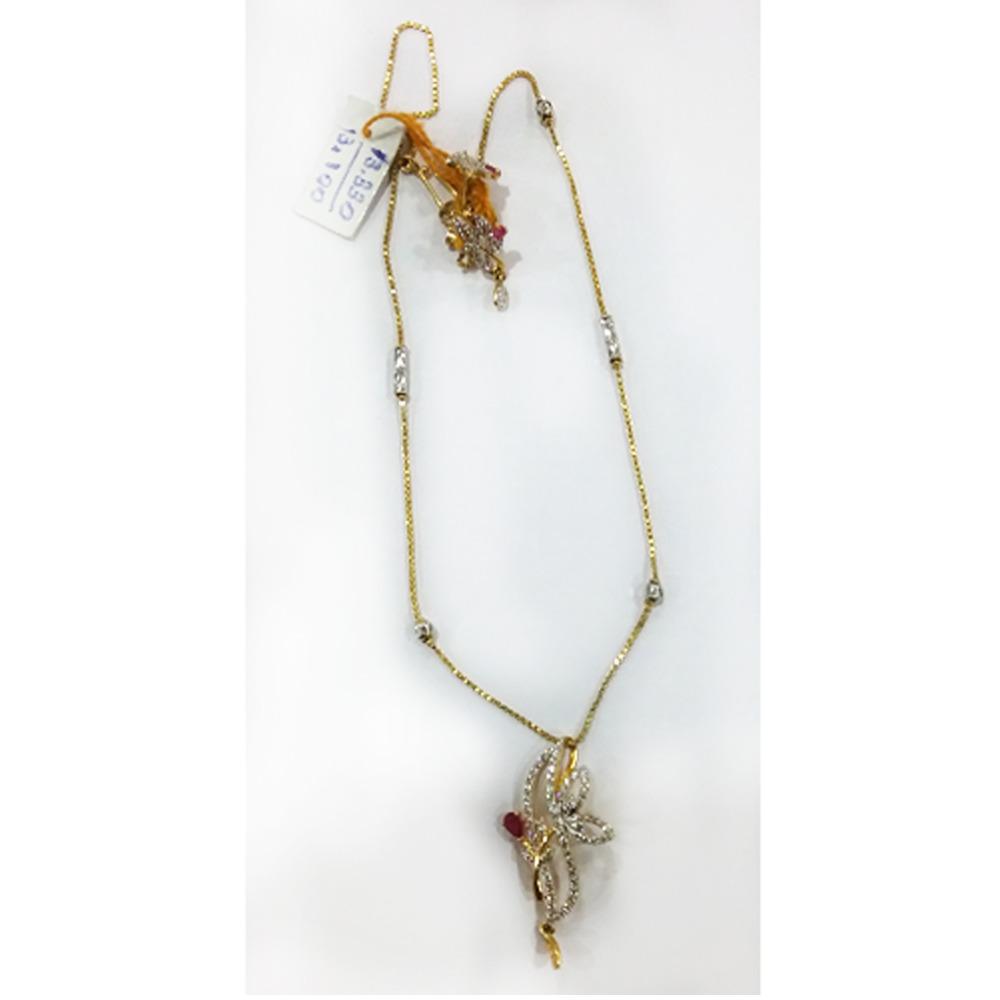 916 Gold Fancy Diamond Pendant Set MJ - PS001