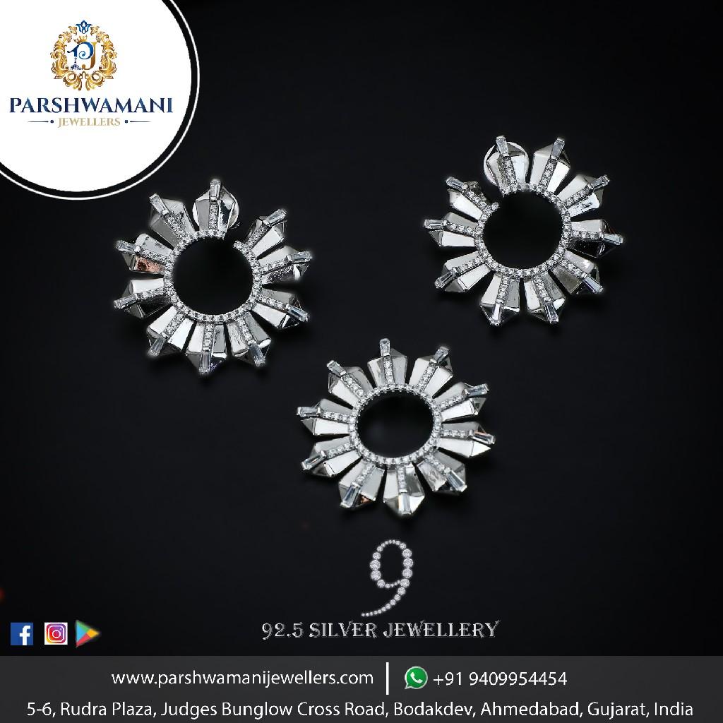 92.5 sterling silver sun shape cz fancy pendent set for women