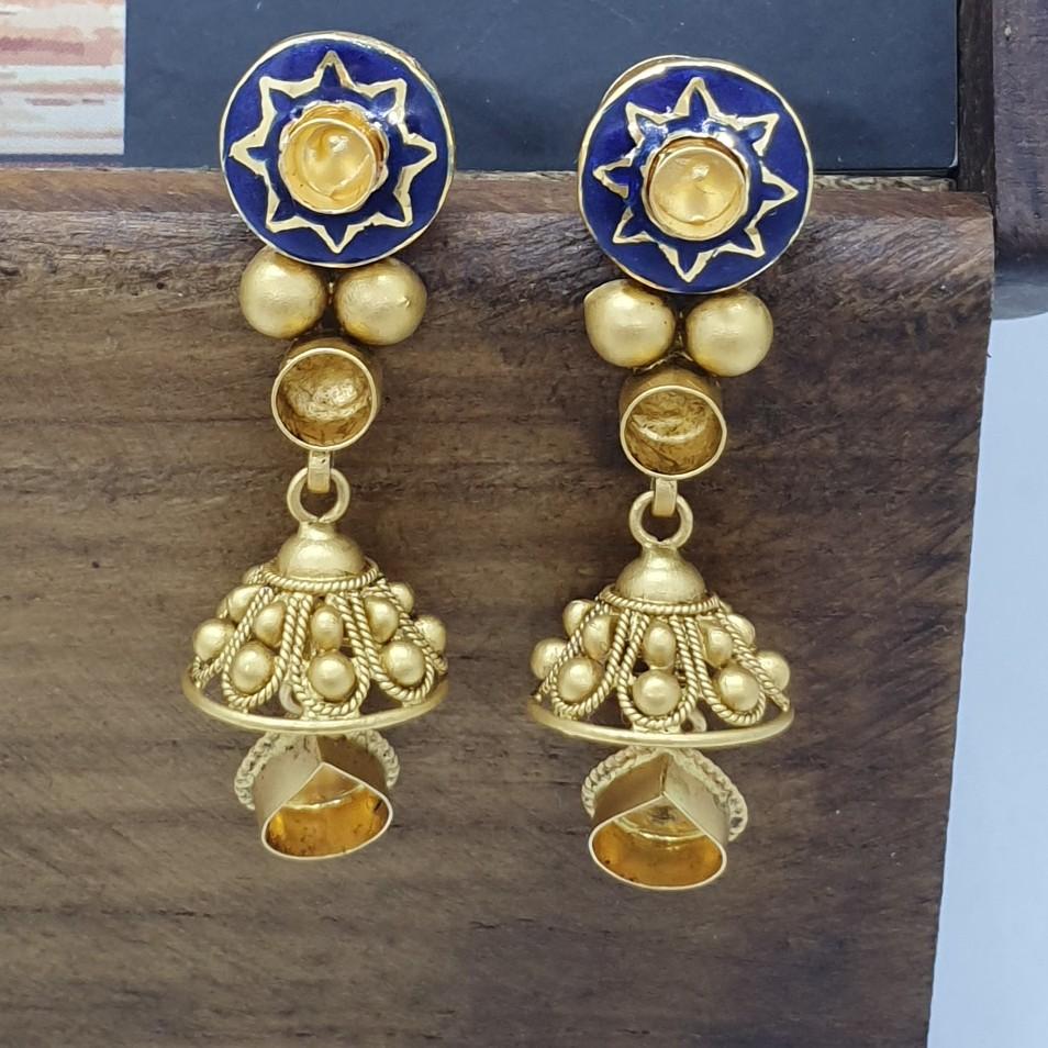 Antique Jadtar Gold Minakari Earring Khokha