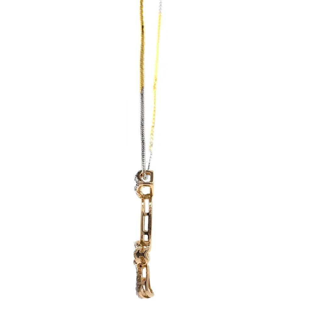 Delicate geometrical design diamond pendant in 18k rose gold 9shp37