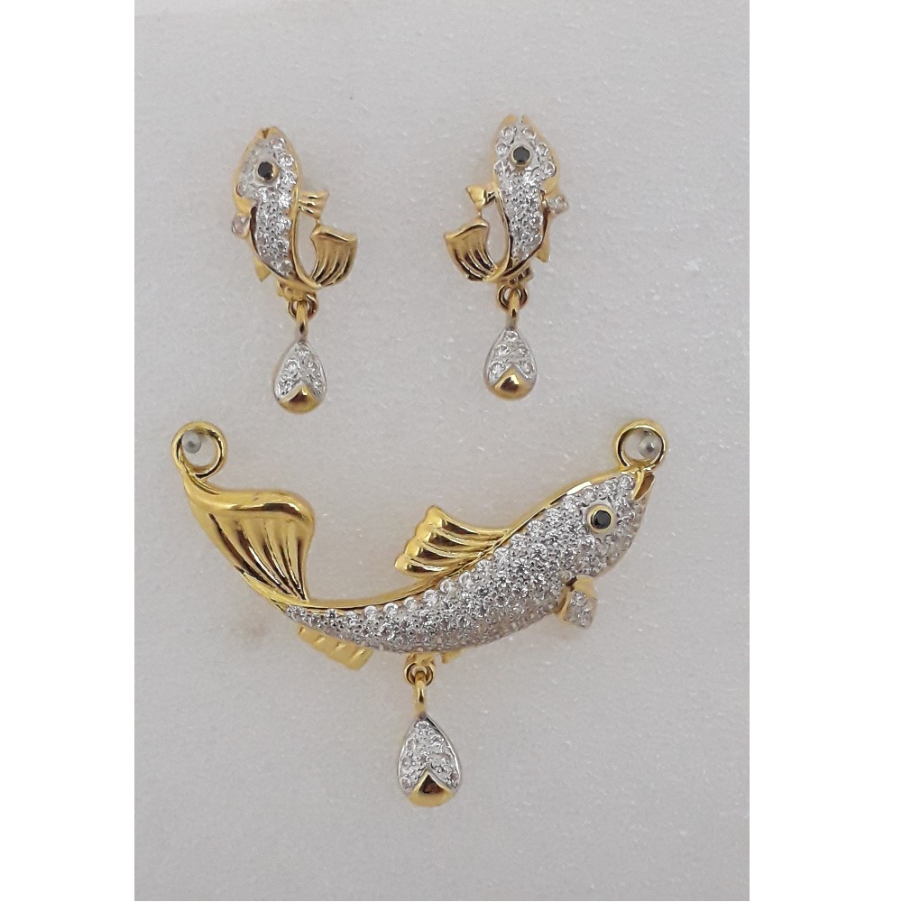 22KT Gold CZ Fish Design Pendant Set MJ-PS004