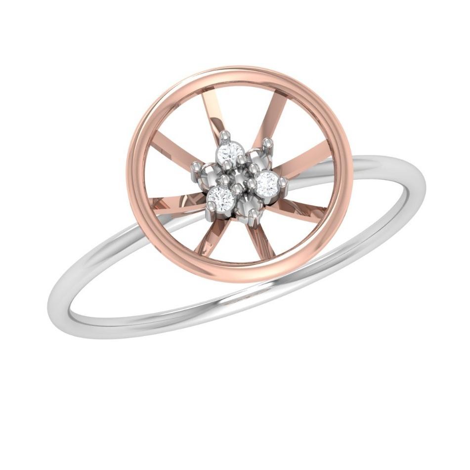 22K Gold Round Shape Diamond Ring JJ-R02