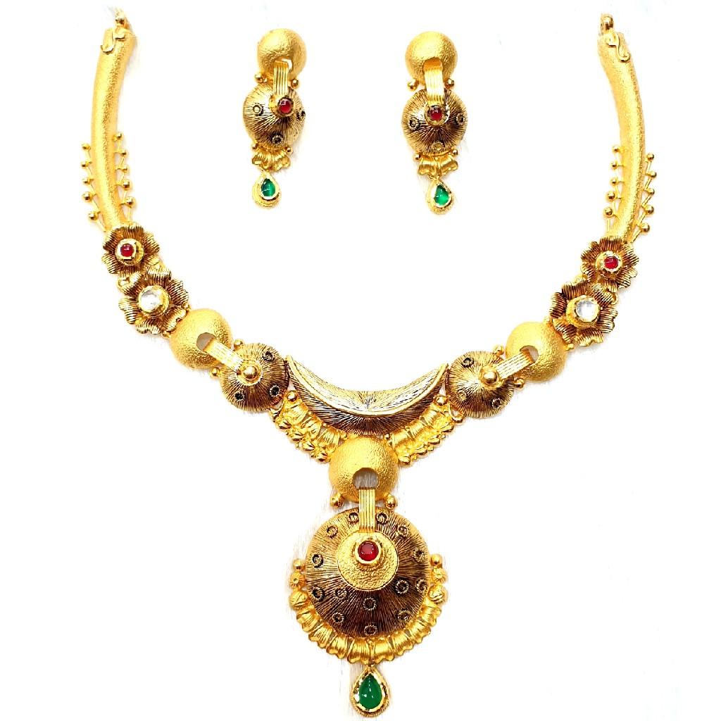 916 gold antique necklace set mga - gn025