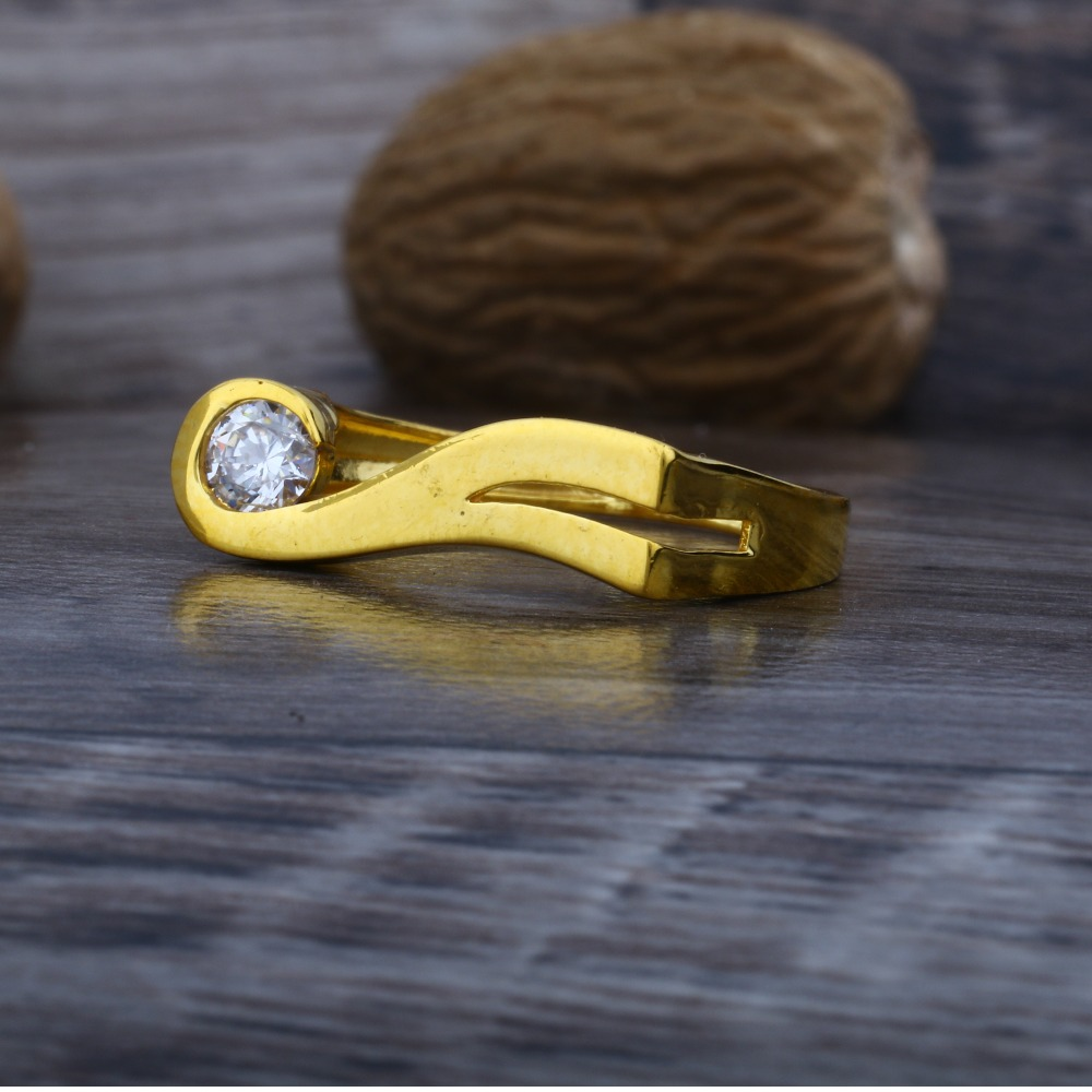 916 Plain Gold Solitaire Diamond Ring JJ-008
