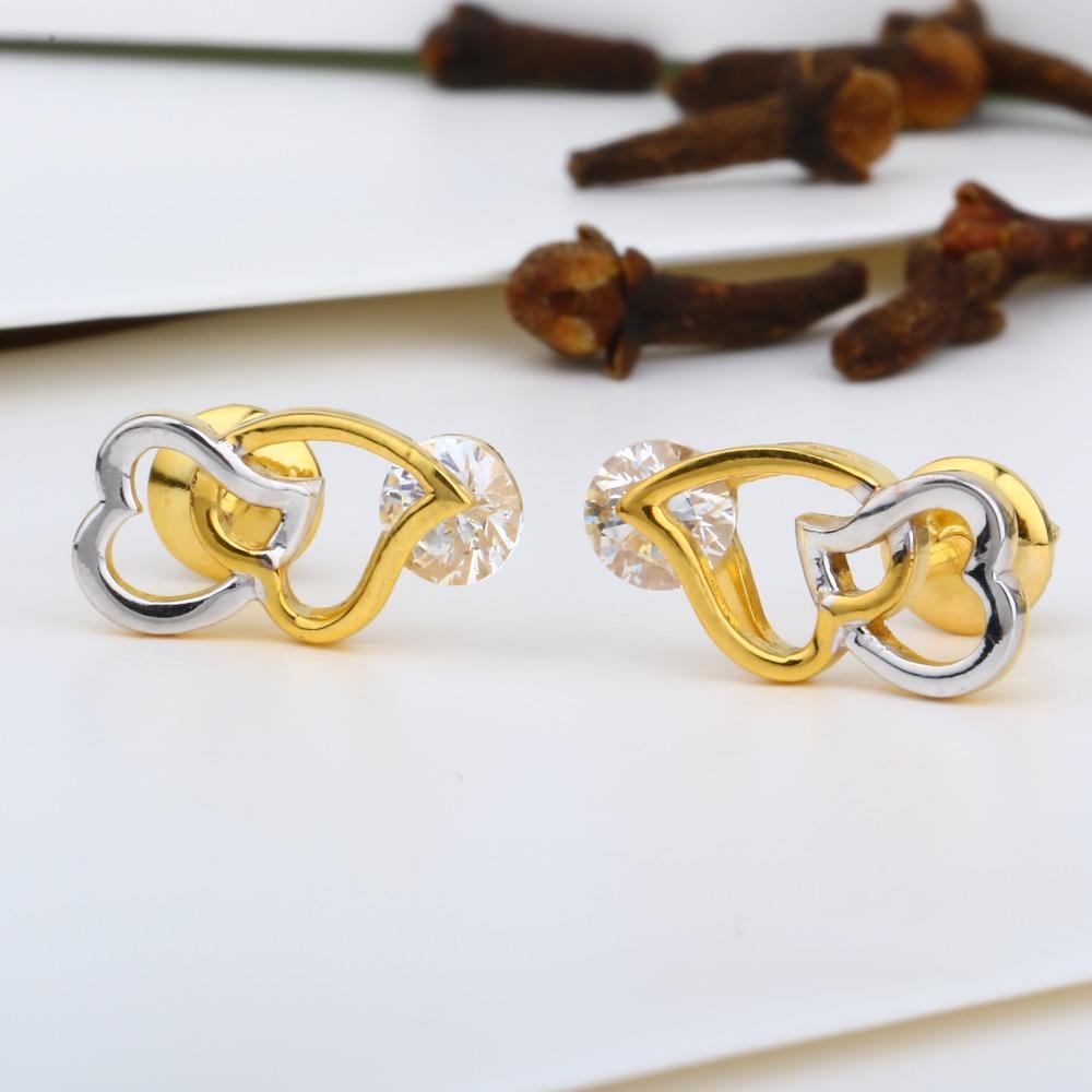 916 gold double heart swarovski tops jj-e019