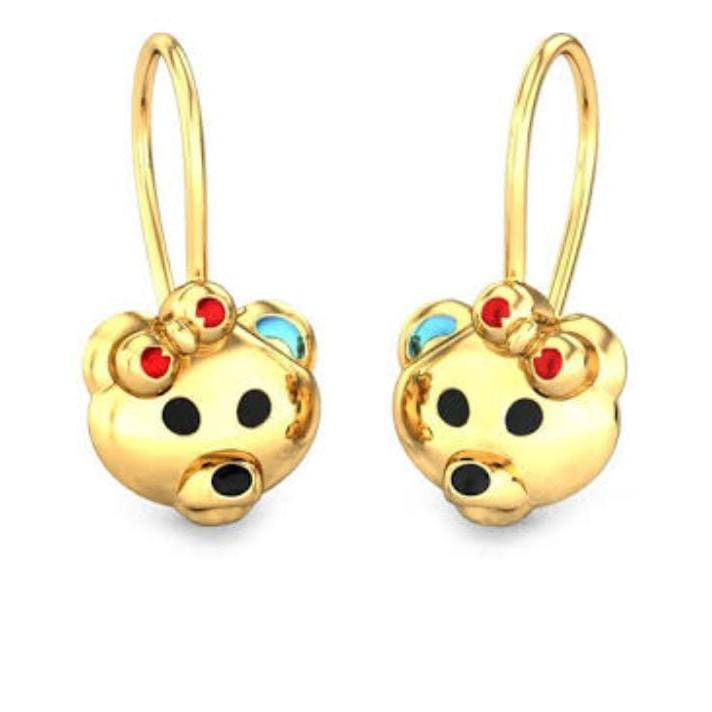 22Kt Yellow Gold  Bear World haging  Earrings For kids