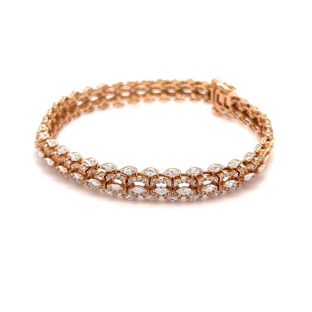 Tennis bracelet with marquise & round diamonds